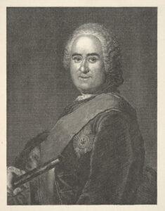 Porträt des James Francis Edward Keith auf einem Stich von A. Hoffmann nach dem Gemälde von Antoine Pesne, vor 1740.