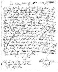 Unterschrift: Brief Anna Louisa Karschs vom 11. Juni 1761 an Johann Wilhelm Ludwig Gleim (erste Seite)