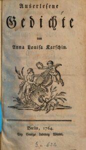 """Titelblatt des Buches """"Auserlesene Gedichte"""" von Anna Louisa Karsch, 1764."""
