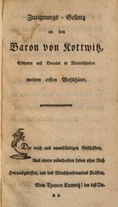 """Widmung für den Baron von Kottwitz in Anna Louisa Karschs Buch """"Auserlesene Gedichte"""" von 1764."""