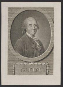 Porträt des Johann Wilhelm Ludwig Gleim in einem Kupferstich von Johann Heinrich Tischbein (dem Älteren) und Gotthelf Wilhelm Weise, nach 1771.