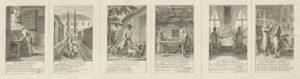 """Sechs der zwölf Blätter """"Steckenpferdreitereien"""" von Daniel Nikolaus Chodowiecki mit Texten von Anna Louisa Karsch."""