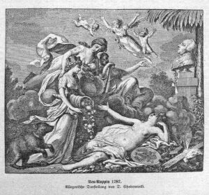 Allegorisches Bild auf den Stadtbrand in Neuruppin von Daniel Nikolaus Chodowiecki aus dem Jahre 1787.
