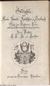 """Titelblatt des Buches """"Gedichte von Anna Louisa Karschin geb. Dürbach..."""" von Caroline Louise von Klenke, aus dem Jahr 1792."""