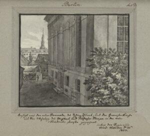 Blick die Garnisonkirche entlang zur Sophienkirche, 1804, von Leopold Ludwig Müller.