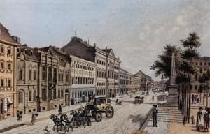 Leipziger Straße und Dönhoffplatz mit Spittelkolonnaden um 1800