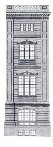Fassadenaufriß der Bauakademie nach Eduard Gärtner (1832)