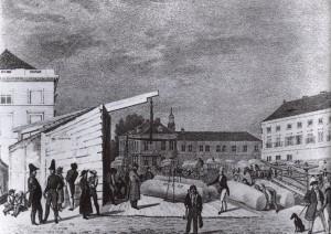 6. Wollmesse auf dem Alexanderplatz im Jahr 1830